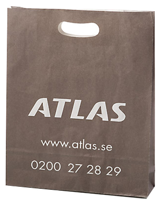 Die Cut Handle White Kraft Bags With Printed Logo