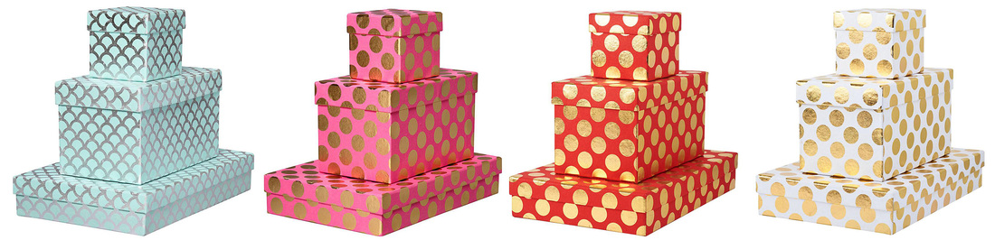 luxury gift boxes with foil dots design