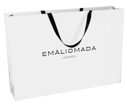 luxury paper bags with ribbon handle and custom logo