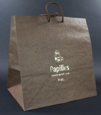 rope handle white kraft bags with printed logo