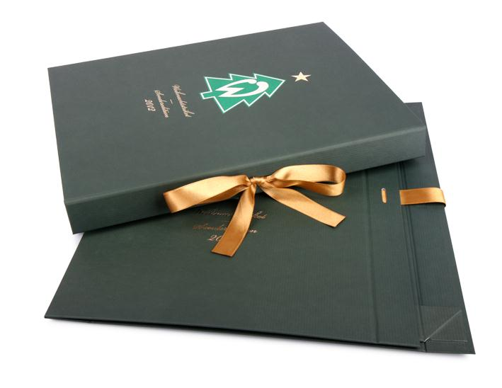 Custom Made Foldable Boxes With Printed Logo And Ribbon Closure